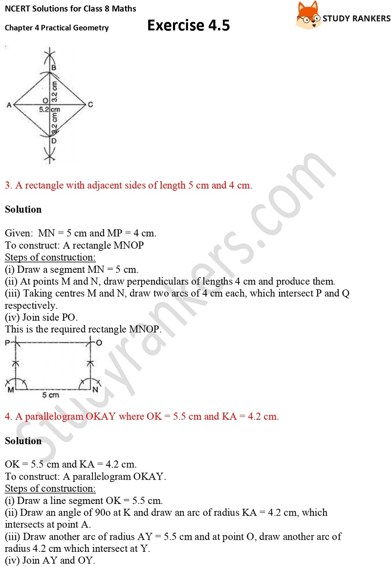 NCERT Solutions for Class 8 Maths Ch 4 Practical Geometry Exercise 4.5 2