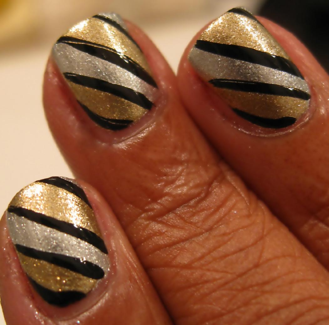 Karine's Vernis Club: Gold And Silver Nail Art