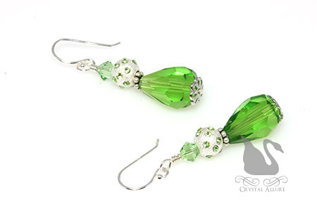 August Birthstone: Peridot Starlight Crystal Drop Earrings (EBC107)