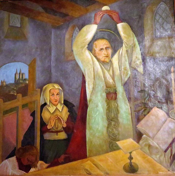 Soeur Marie des Vallées assiste à Missa de São João Eudes. Chapelle Notre Dame de la Roquelle