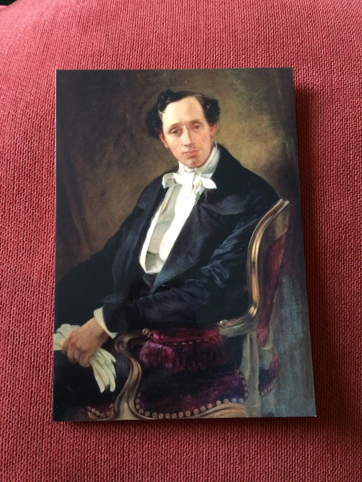 Postcard of a portrait of Hans Christian Andersen by Elisabeth Jerichau-Baumann