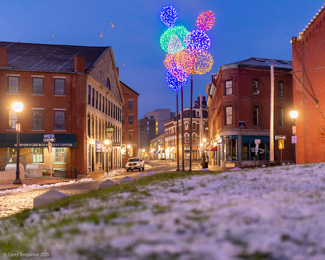 Portland, Maine USA December 2020 photo by Corey Templeton of winter lights in Boothby Square.