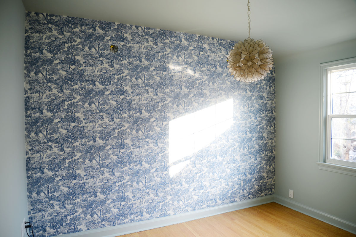 wallpaper installation | Brewster Home Fashions Blyth Blue Toile | ramblingrenovators.ca