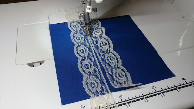 Sewing vintage lace to quilt blocks