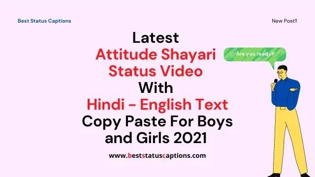Latest Attitude Shayari Status Video With Hindi - English Text Copy Paste For Boys and Girls