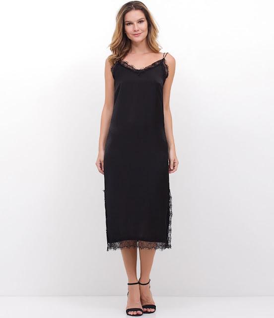 Moda Vestido Midi em Crepe com Renda