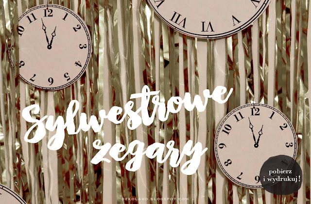 Zegary do druku - dekoracja na Sylwester