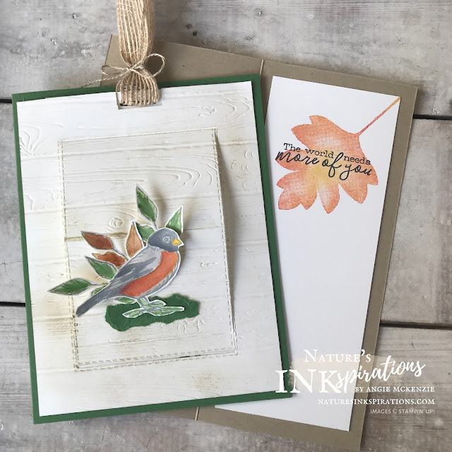 By Angie McKenzie for Friendship Friday; Click READ or VISIT to go to my blog for details! Featuring the Free as a Bird and the Love of Leaves stamp sets by Stampin' Up!®; #stampinup #handmadecards #naturesinkspirations #keepstamping #spreadsunshine  #friendshipcards #freeasabirdstampset #loveofleavesstampset #fussycutting #watercolorpencils #cardtechniques #ilovemydogs #naturesinkspirationschallenges #NICapril2020