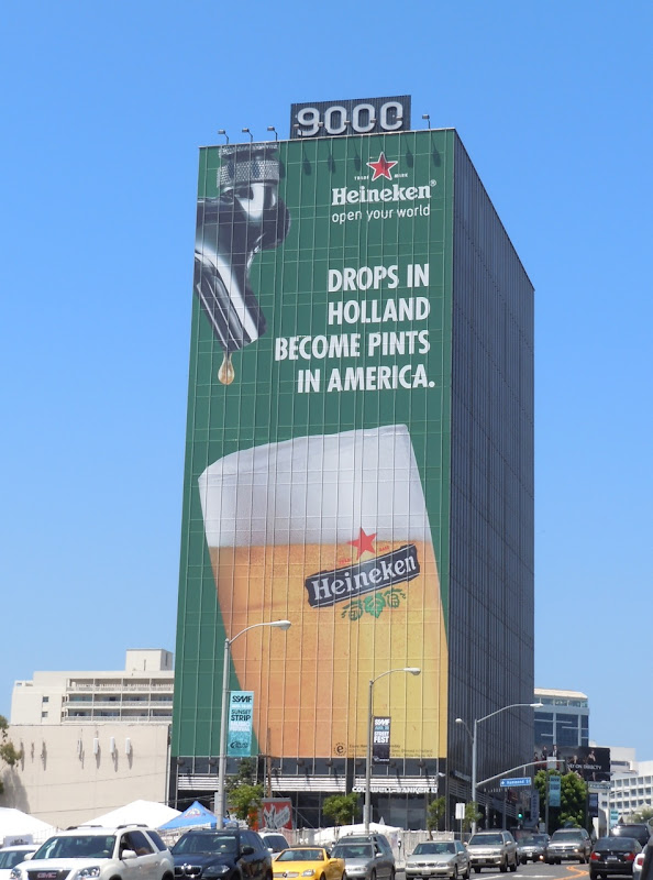 Giant Heineken beer billboard Sunset Strip