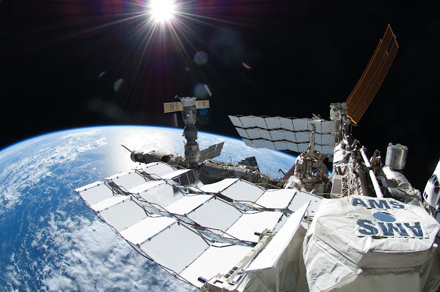 This picture, taken July 12, 2011, shows the Alpha Magnetic Spectrometer (AMS) experiment on the International Space Station. AMS is a state-of-the-art particle physics detector designed to search for antimatter and dark matter.