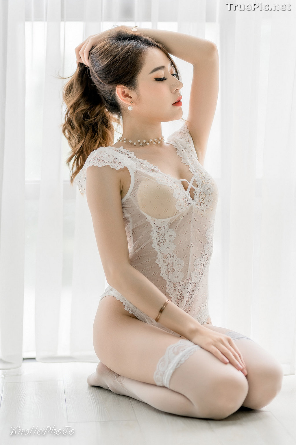 Image Thailand Hot Beauty Model - Thipsuda Jitaree - White Lace Underwear - TruePic.net - Picture-4