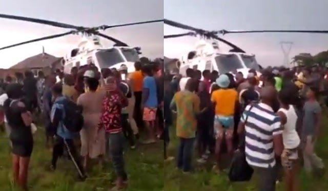 #EndSARS: Edo youths seize helicopter (Video)