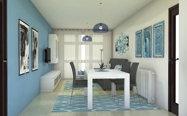 Arantxa amor decoraci n sal n comedor alargado en color azul for Ideas para pintar un salon comedor