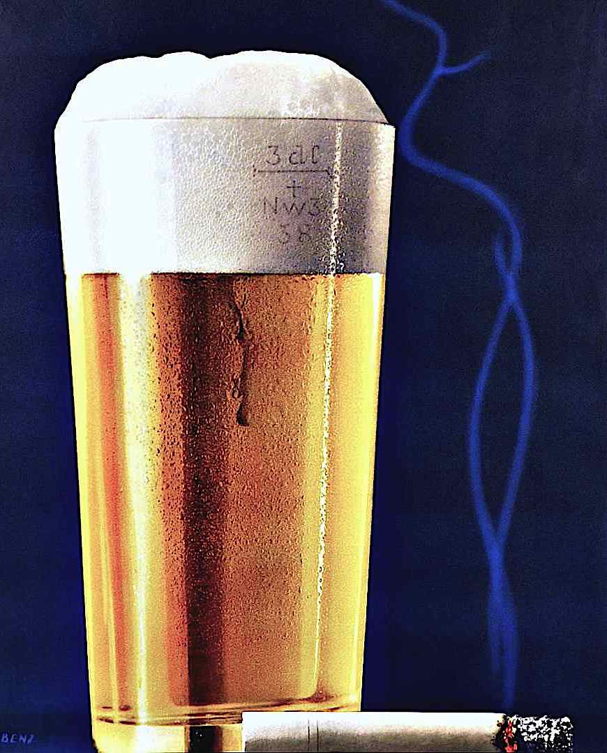1961 poster art by Eidenbenz, beer and a cigarette