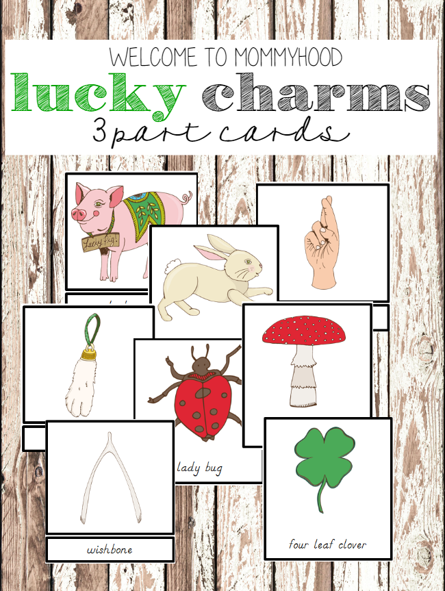 St Patrick's Day Activities: Montessori Lucky charms 3 part cards #montessori, #montessoriactivities, #stpatricksday, #stpatricksdayactivities