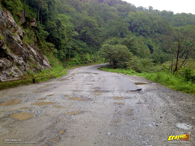 Potholes on the Shiradi Ghat National Highway NH-48 (New No.: NH-75) through Western Ghats, Karnataka