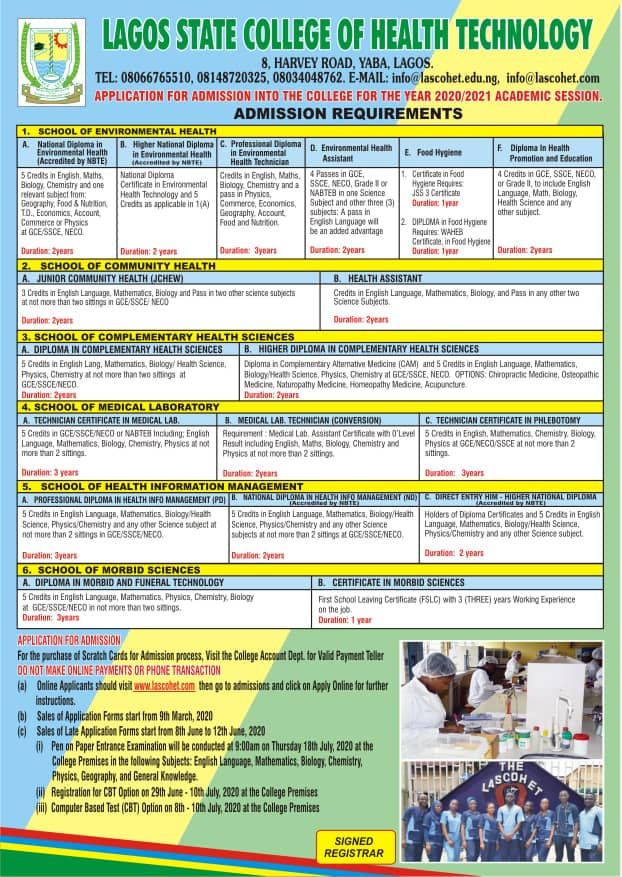 LASCOHET Admission Form 2020