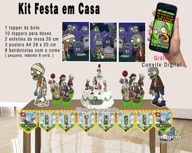 kit festa zumbi Plants vs Zombie dicas e ideias para festa  personalizadas Monte seu kit Guloseimas