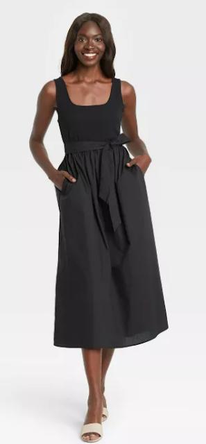 Women's Sleeveless Knit Woven Dress