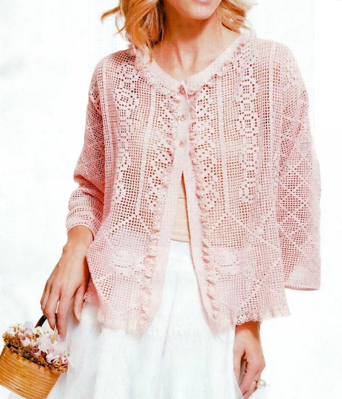 Filet crochet Lace Sweater -front