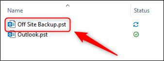 ملف .pst الذي تم تصديره في مستكشف Windows.