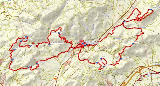 mapa con el track de 43 kilómetros de la marcha btt borriol 2019