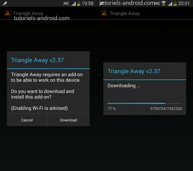 Triangle Away : Téléchagement des composants