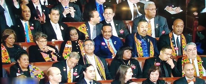 Photo: Black members of congress attend the US State of the Union address with some Kente material on their outfits