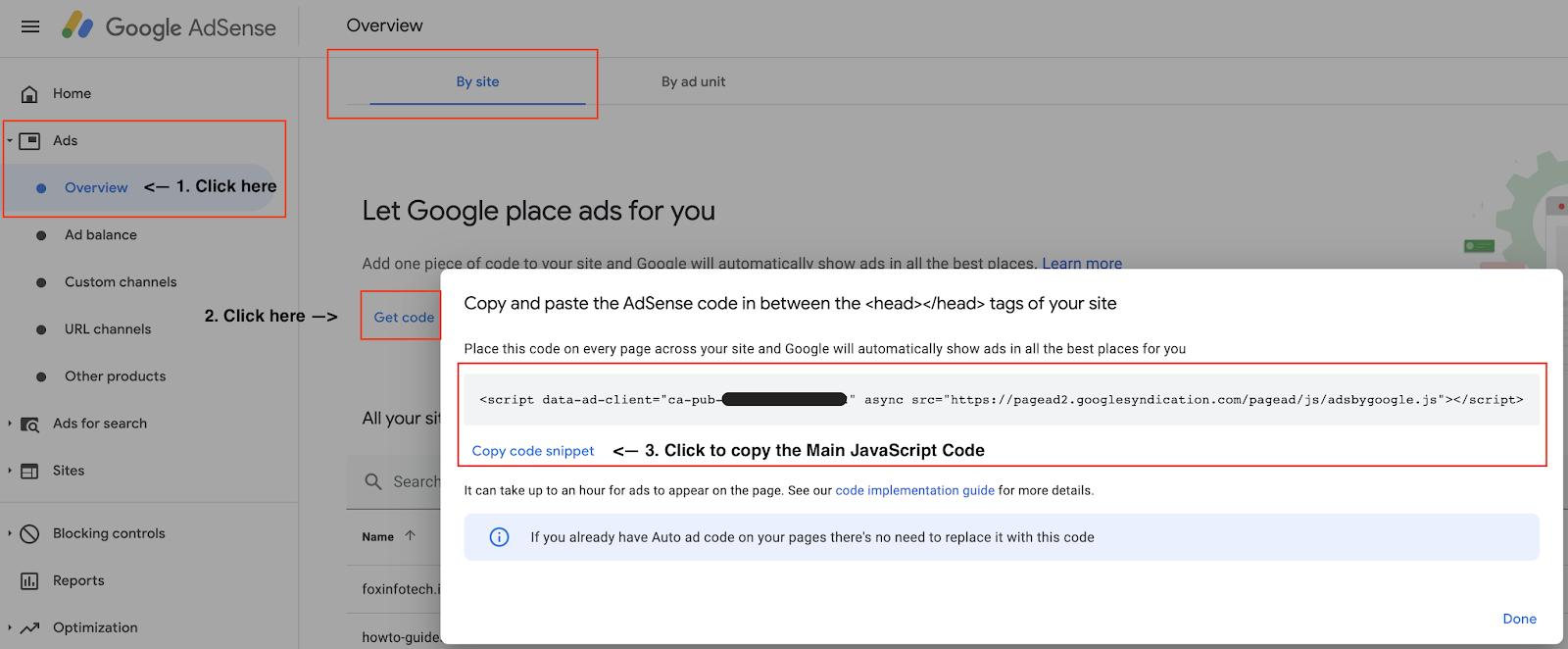 Get Google Adsense Main JavaScript code.