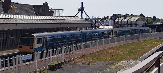 Transport for Wales Pacer Railbuses at Barry Island railway station in May 2019