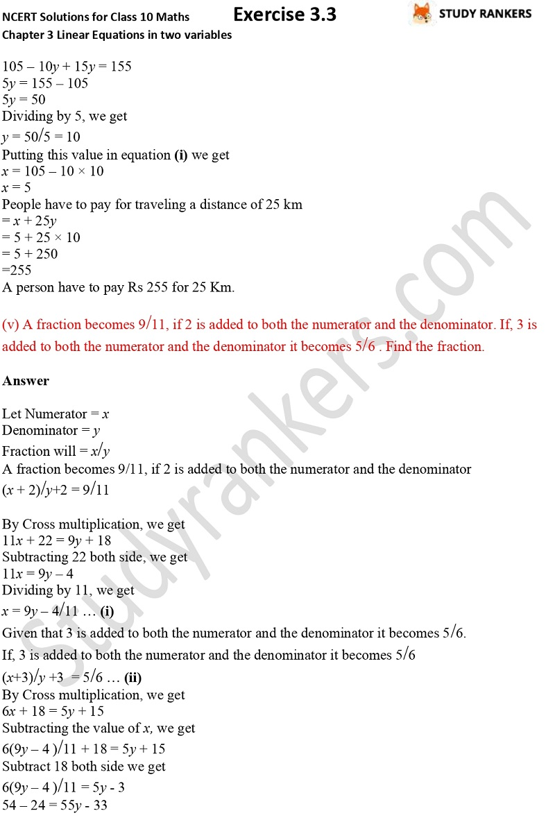 NCERT Solutions for Class 10 Maths Chapter 3 Pair of Linear Equations in Two Variables Exercise 3.3 Part 7