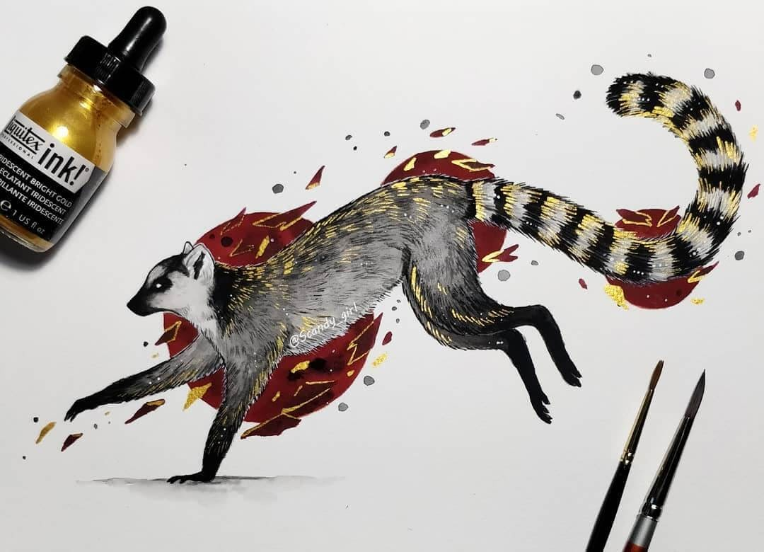 11-Ring-Tailed-Lemur-Jonna-Hyttinen-Animals-Mixture-of-Drawings-and-Paintings-www-designstack-co