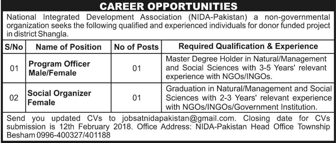 National Integrated Development Association KPK jobs Feb 2018