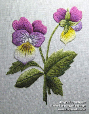 Completed needlepainted violas: Wild Pansy designed by Trish Burr