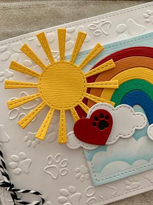 Sun Rainbow and Paw Print Heart