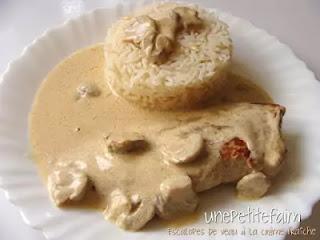 Guerison service dish - Escalope De Veau a La Creme et Champignons