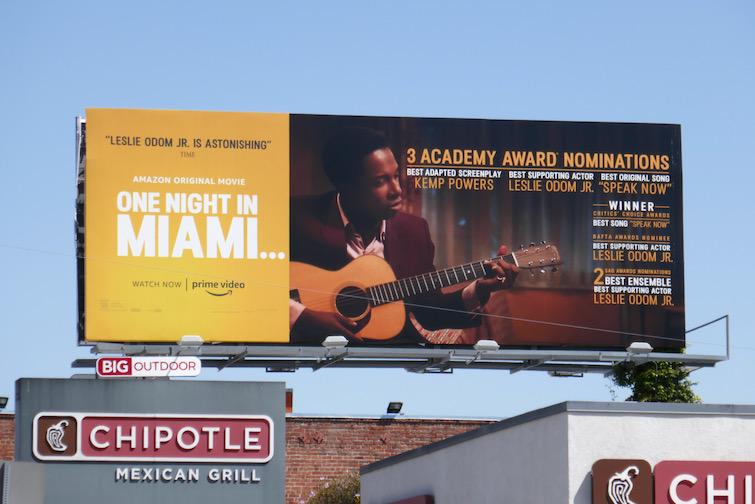One Night in Miami Academy Award nominee billboard