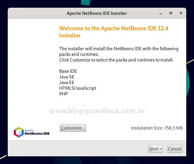 Tela inicial do instalador do Apache NetBeans IDE