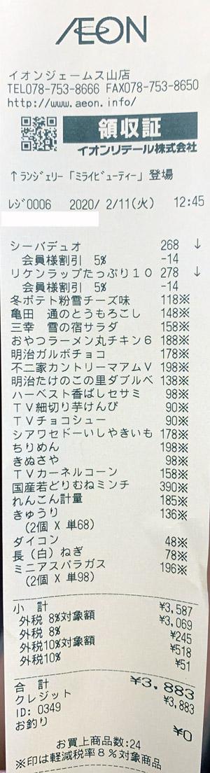 イオン ジェームス山店 2020/2/11 のレシート