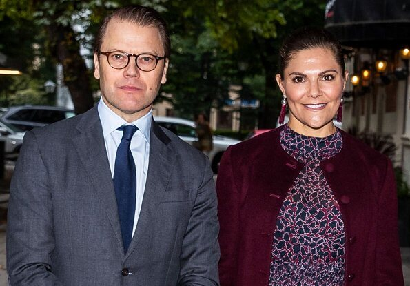 Princess Victoria wore a printed midi dress from By Malina. Rizzo Azelia suede pumps and Saturn earrings. By Malina Lysandra dress