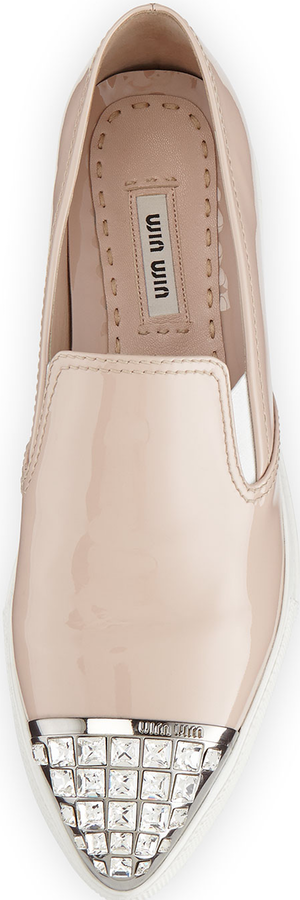Miu Miu Patent Jewel-Toe Skate Sneaker, Powder