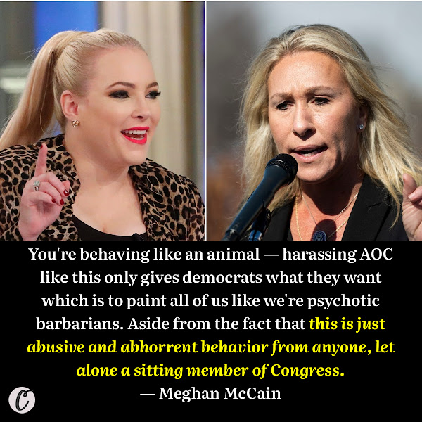 You're behaving like an animal — harassing AOC like this only gives democrats what they want which is to paint all of us like we're psychotic barbarians. Aside from the fact that this is just abusive and abhorrent behavior from anyone, let alone a sitting member of Congress. — Meghan McCain, daughter of the late Senator John McCain of Arizona