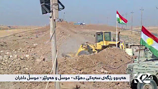 kurdes coupent les routes entre le Kurdistan et Mossoul