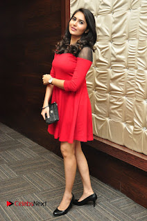 Vyoma Nandi Pictures in Red Short Dress at Marala Telupana Priya Audio Launch  0044