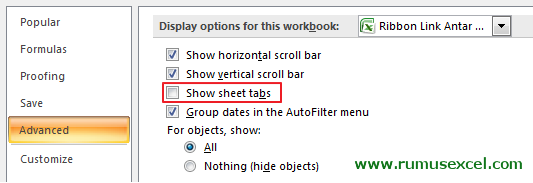 Show Hide Sheet tabs