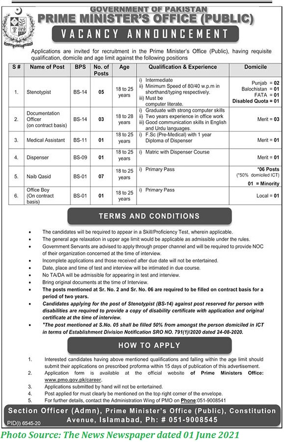 Prime Minister Office Jobs 2021 Latest Download Application forms