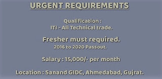 Urgent Requirement for ITI candidates For Permanent Jobs in Manufacturing Company Sanand GIDC, Ahmedabad, Gujrat