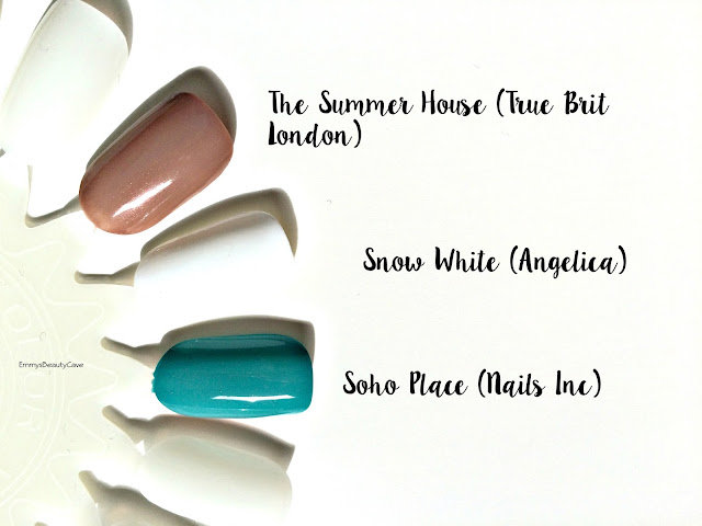 True Brit London The Summer House Polish, Angelica Snow White Polish, Nails Inc Soho Place Polish