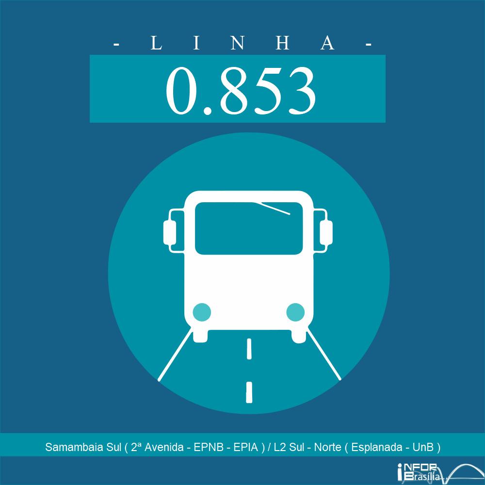 Horário e Itinerário 0.853 - Samambaia Sul(2ª Avenida)/L2 Sul-Norte (EPNB-Esplanada-UNB)
