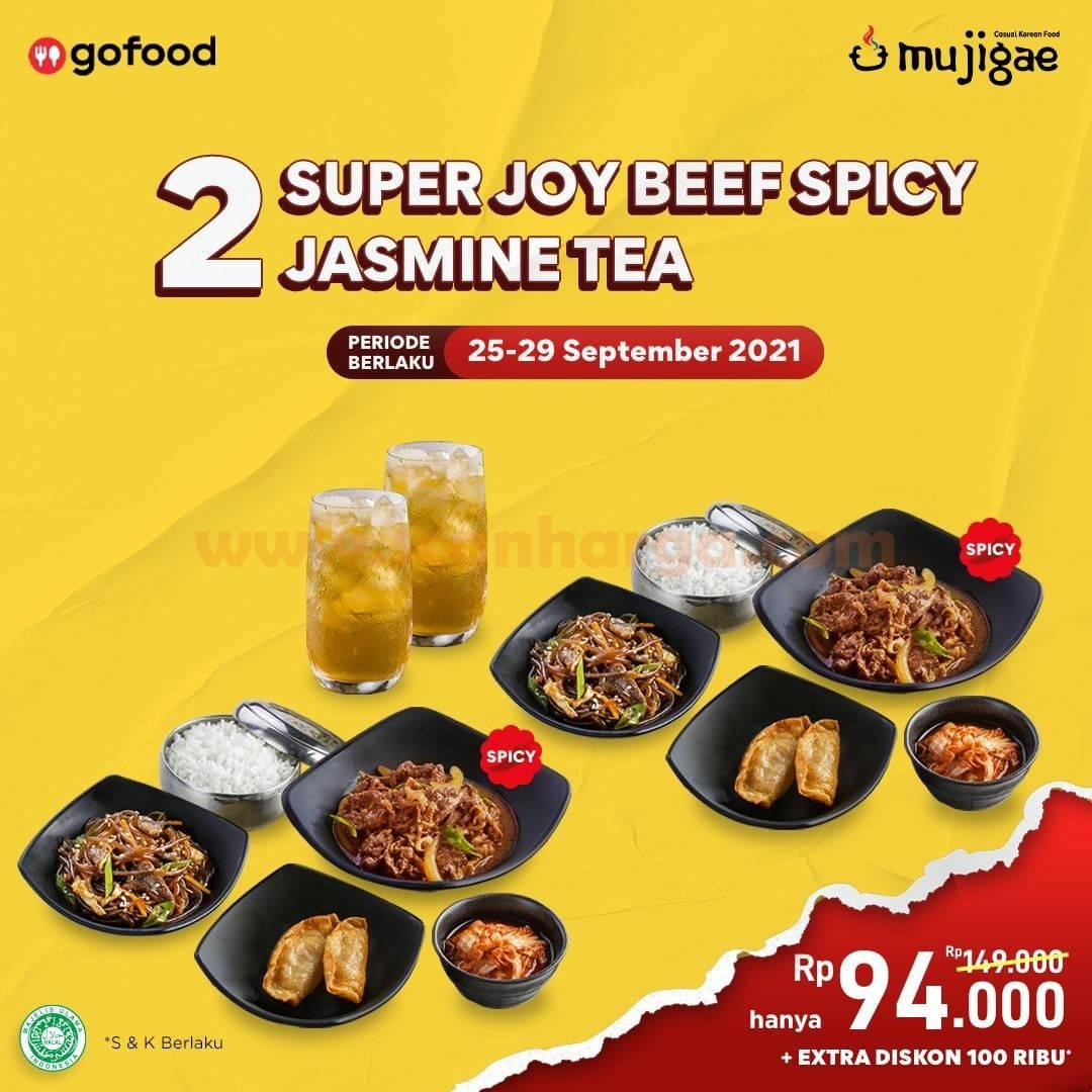 Promo Mujigae harga 2 Super Joy Beef Spicy + 2 Jasmine Tea hanya Rp 94.000
